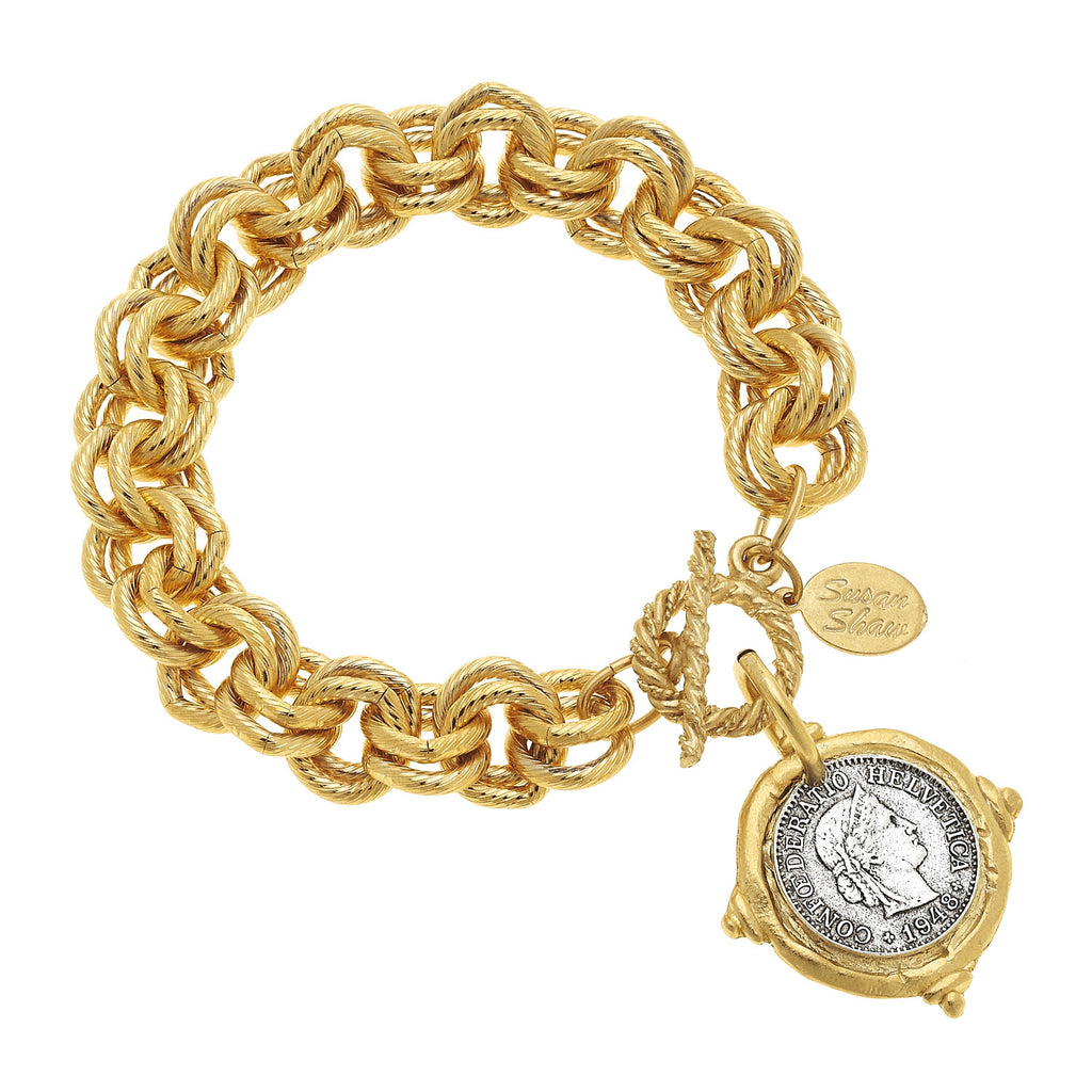 Susan Shaw Gold and Silver Intaglio Coin Bracelet