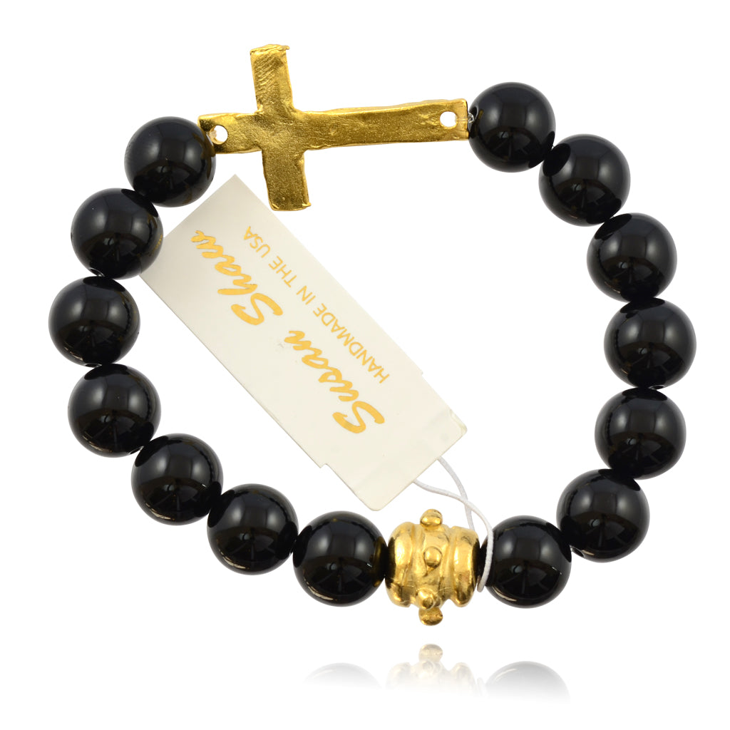 Susan Shaw Black Bead and Cross Stretch Bracelet, Gold Plated 8""