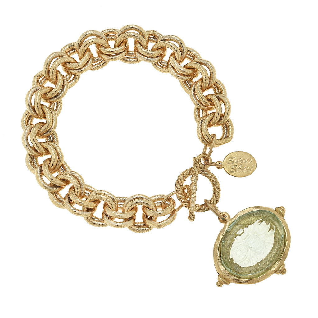 Susan Shaw Venetian Glass Bee Charm Intaglio Chain Bracelet, Gold Plated with Clear Glass