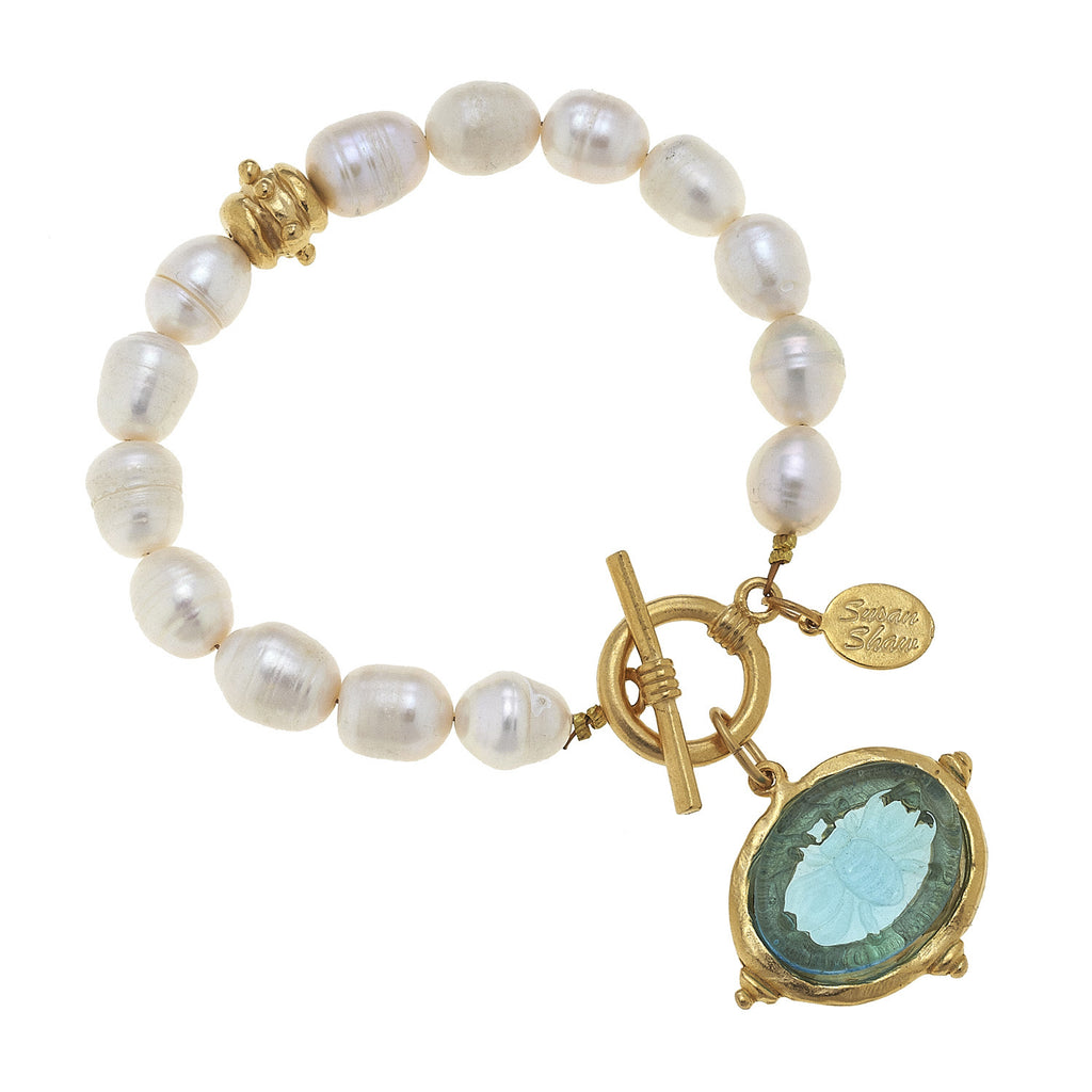 Susan Shaw Jewelry Aqua Venetian Glass Bee Bracelet with Freshwater Pearls