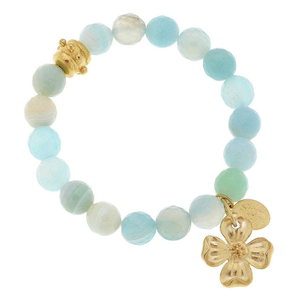Susan Shaw Clover Seafoam Agate Tennis Bracelet with Toggle Clasp, Gold Plated 8""