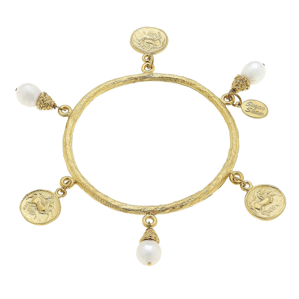 Susan Shaw Jewelry Cross Bangle Bracelet, Freshwater Pearls and Cross Charms in Gold