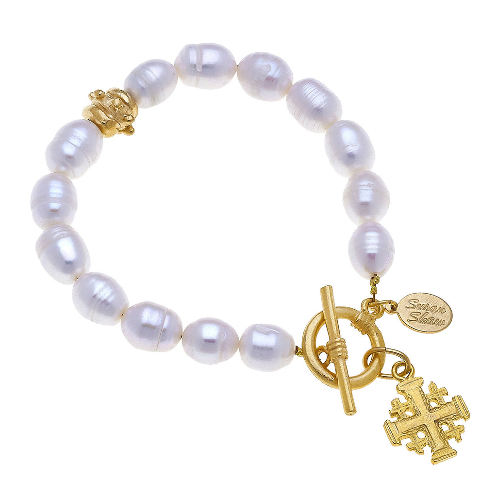 Susan Shaw Cross Freshwater Pearl Tennis Bracelet with Toggle Clasp, Gold Plated 8""