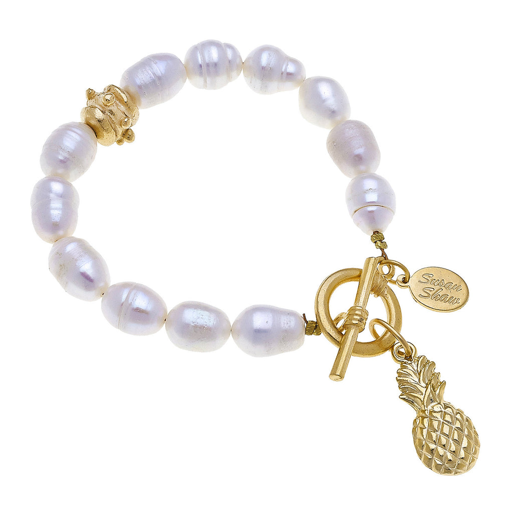 Susan Shaw Pineapple Freshwater Pearl Tennis Bracelet with Toggle Clasp, Gold Plated 8""