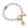 Susan Shaw Oyster Freshwater Pearl Tennis Bracelet with Toggle Clasp, Gold Plated 8