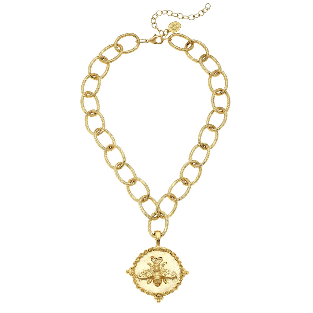 Susan Shaw Bee Chain Necklace, Gold Plated Pendant Medallion