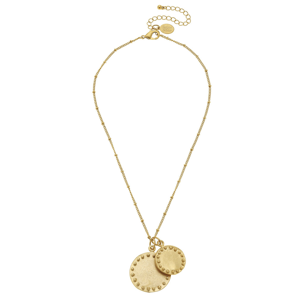 Susan Shaw Handcast Gold Plated Round Dotted Pendant Necklace, 16""