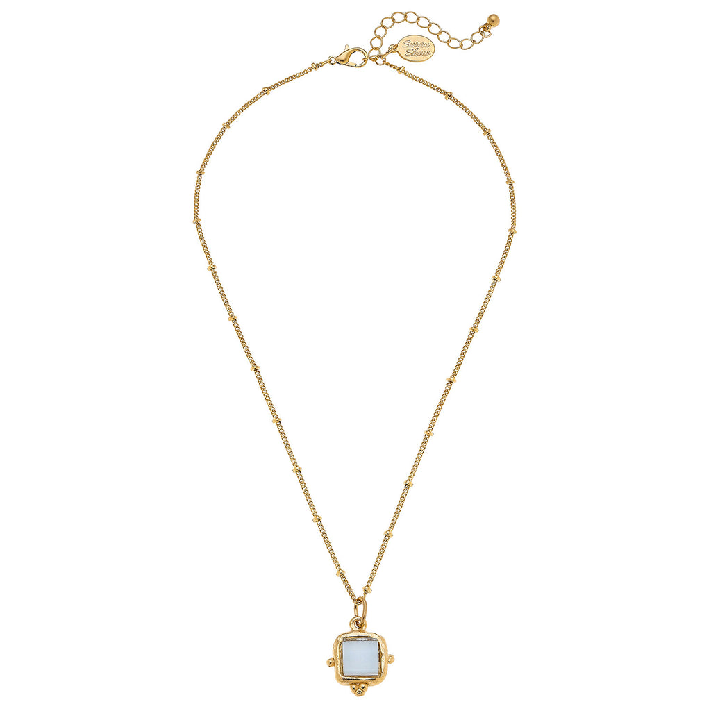 Susan Shaw Gold Plated Crystal Square Pendant Necklace