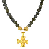 Susan Shaw Jewelry Labradorite Cross Necklace in Gold