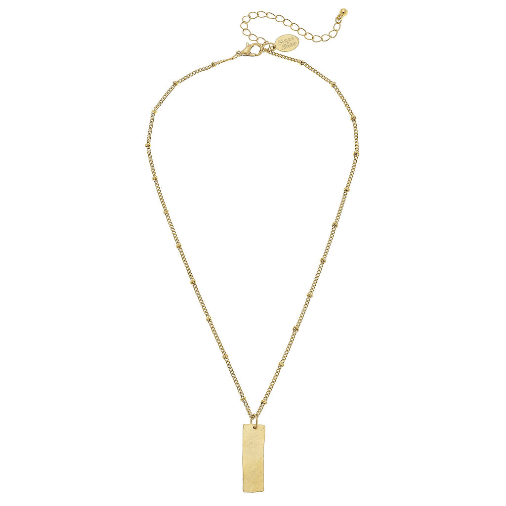Susan Shaw Jewelry Bar Necklace, Rectangle Pendant in Gold