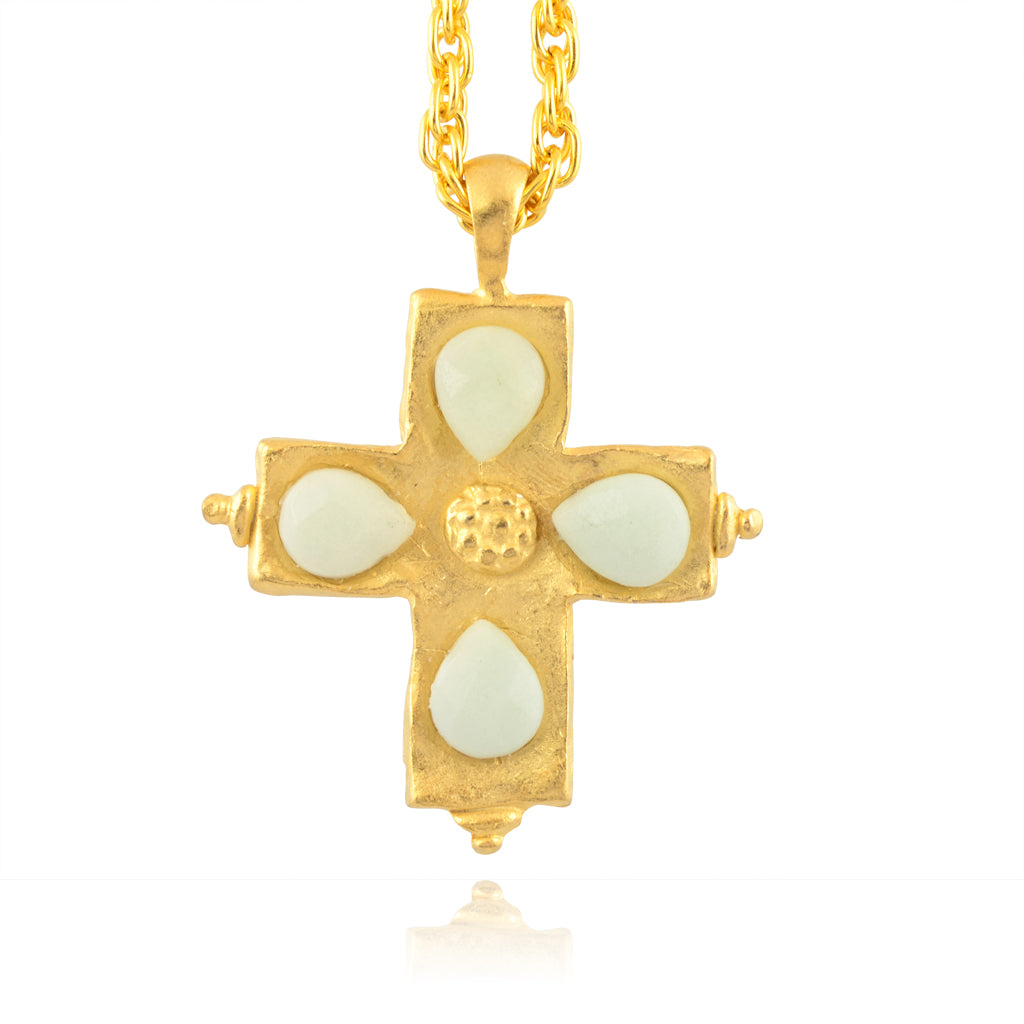 Susan Shaw Large Cross Necklace with Mint Green Stones, Gold Plated Long Chain Necklace, 30""