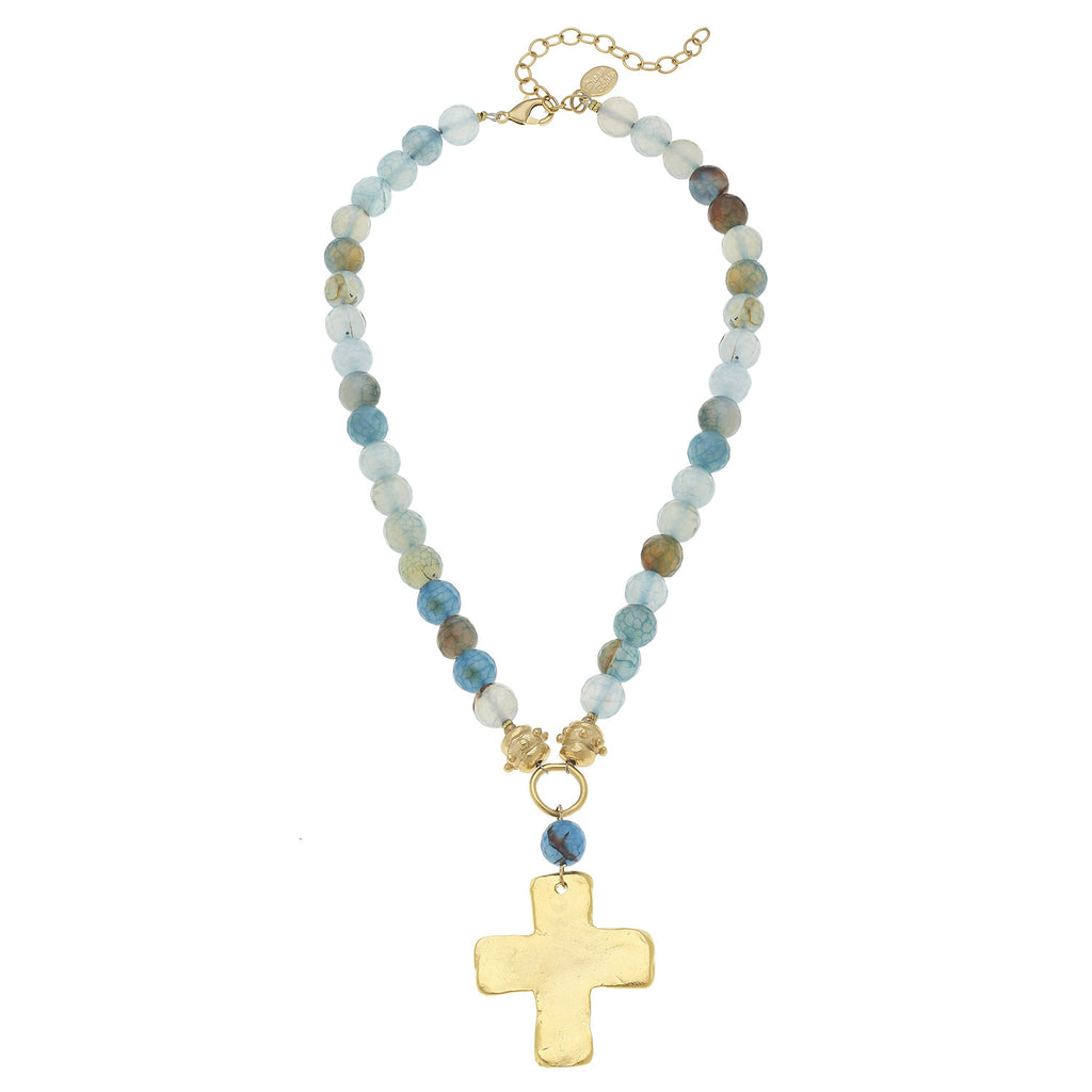 Susan Shaw Jewelry Teal Agate Necklace, Cross Pendant in Gold