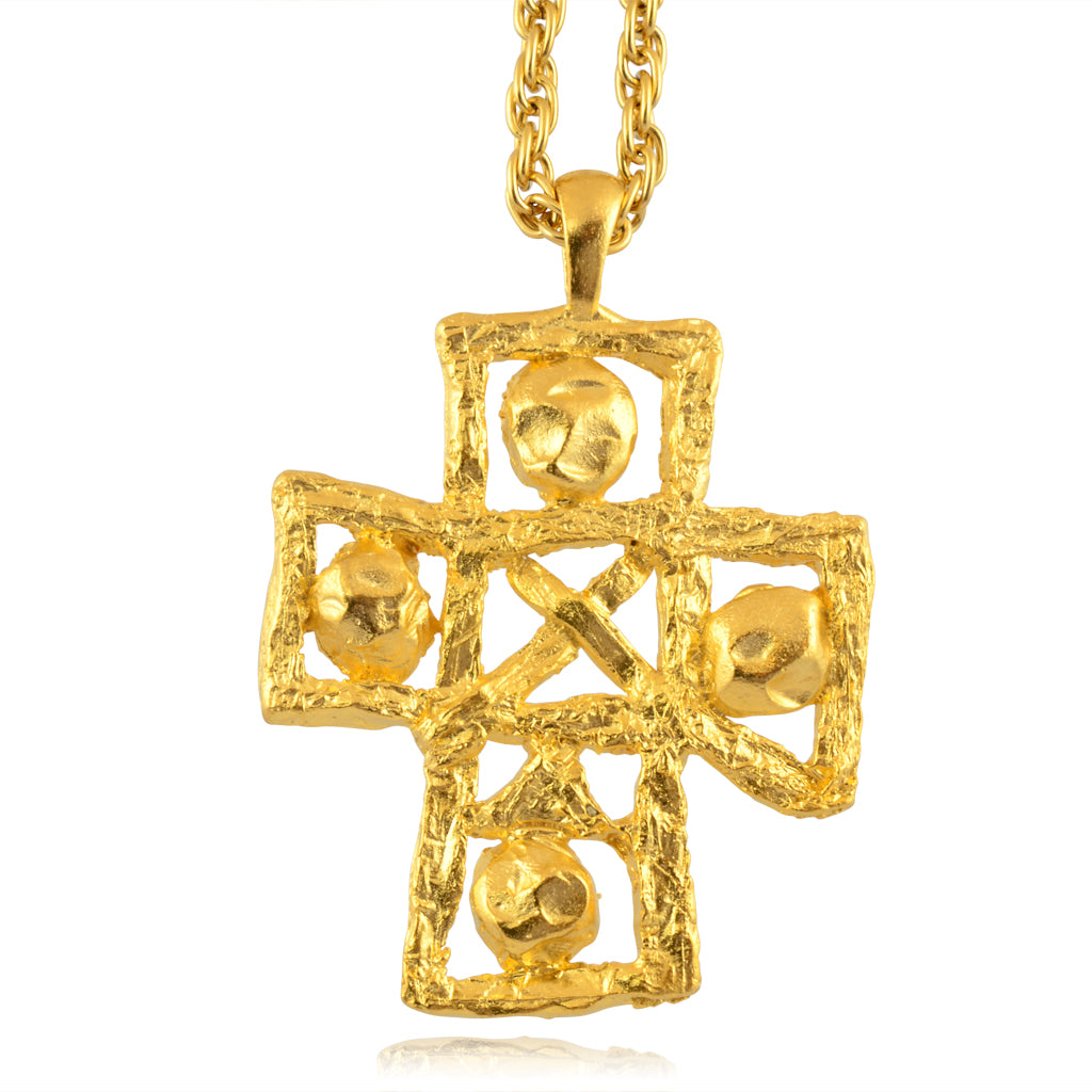 Susan Shaw Large Textured Cross Necklace, Gold Plated Long Chain Necklace, 30""