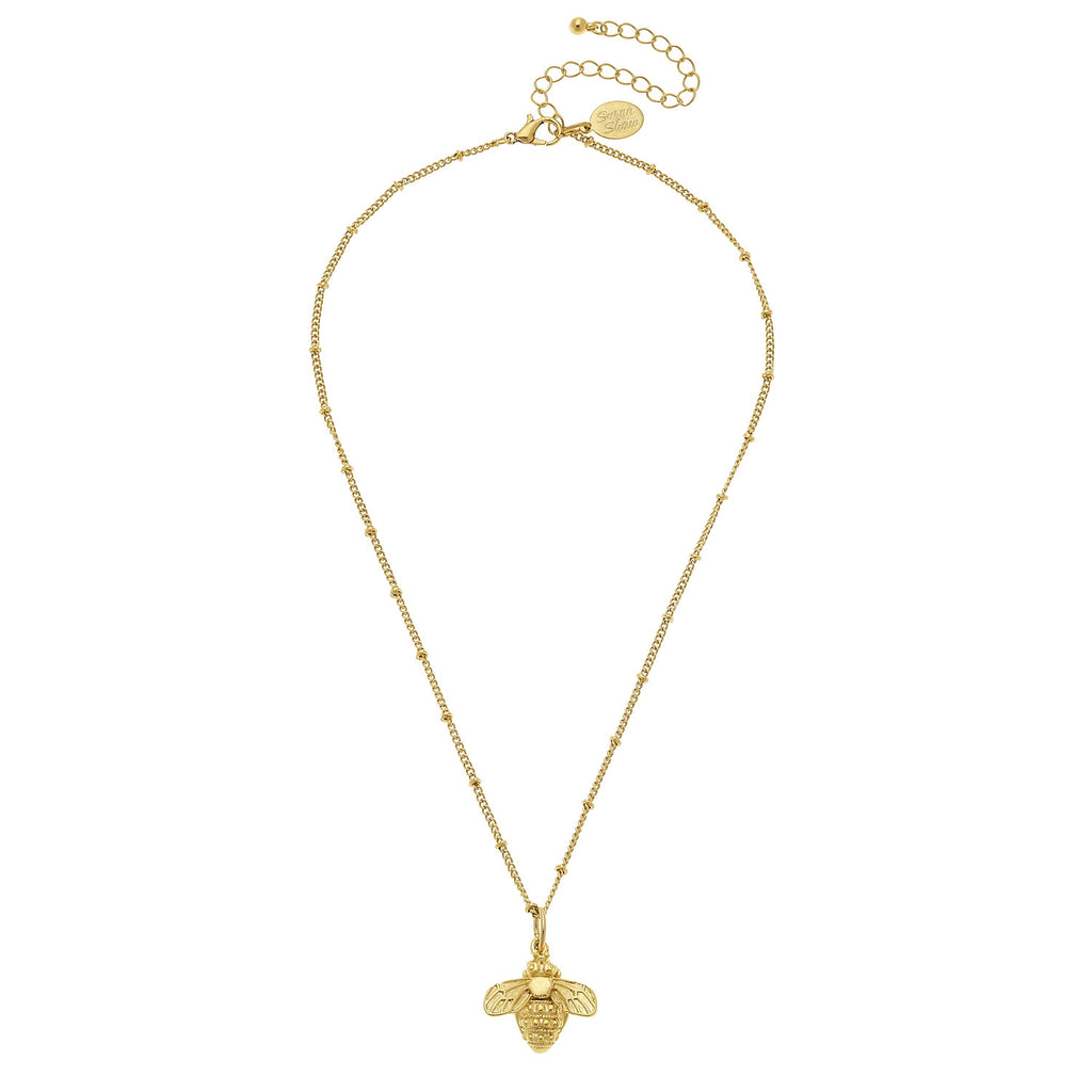 Susan Shaw Bee Chain Necklace, Gold Plated Pendant, 16+3""
