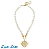 Susan Shaw Handcast Gold Bee on Genuine Freshwater Pearl Necklace
