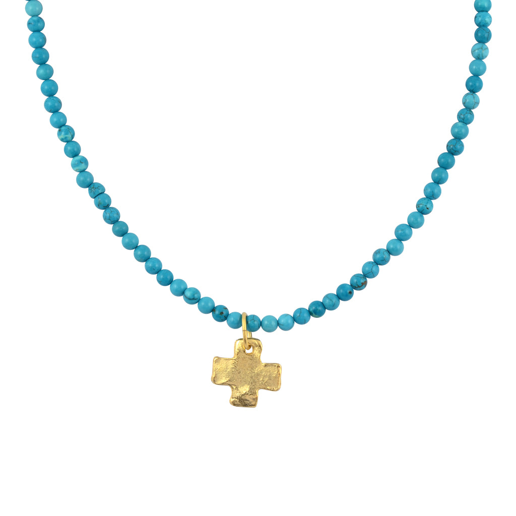 Susan Shaw Gold Plated Cross Pendant Necklace with Beaded Chain, Teal 20""