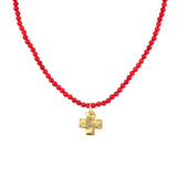 Susan Shaw Gold Plated Cross Pendant Necklace with Beaded Chain, Red 20