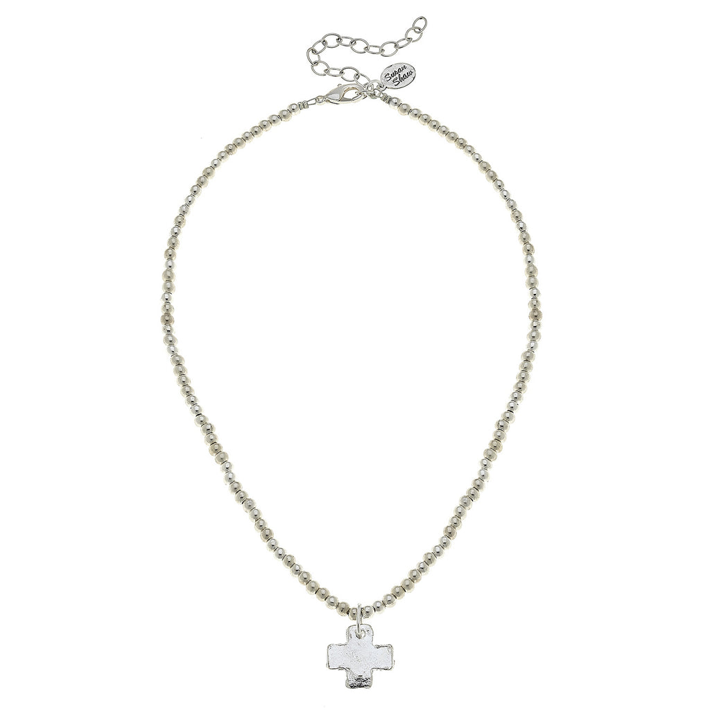 Susan Shaw Jewelry Cross Necklace, Silver Beads with Cross Pendant in Silver