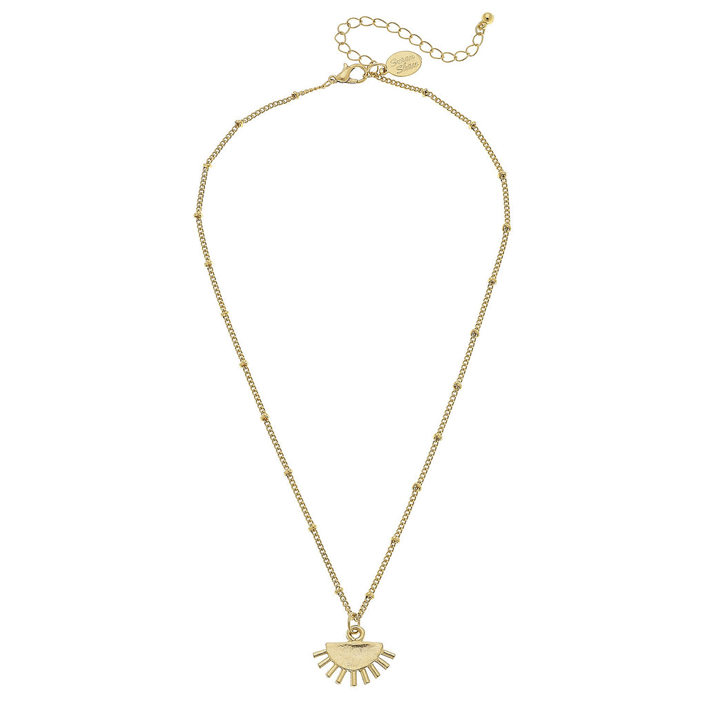 Susan Shaw Jewelry Sun Necklace, Art Deco Pendant in Gold