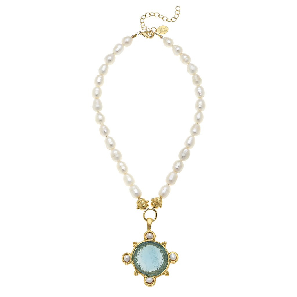 Susan Shaw Jewelry Pearl Venetian Glass Necklace, Freshwater Pearl and Coin Intaglio Pendant in Gold