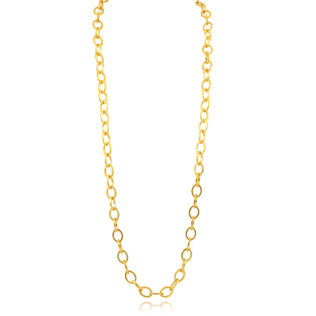 Susan Shaw Textured Link Chain Necklace, Gold Plated Long Chain, 32""