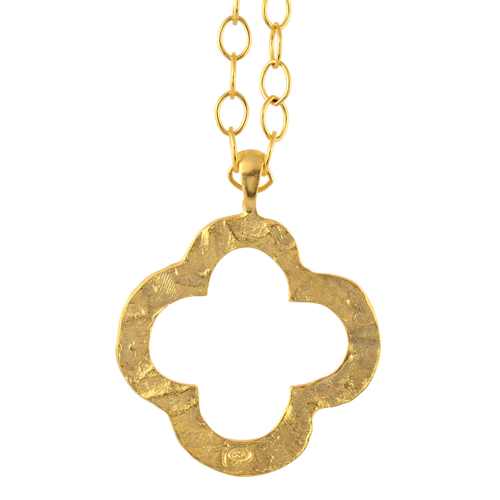 Susan shaw gold plated handcast gold clover pendant necklace with susan shaw gold plated handcast gold clover pendant necklace with long chain 20 aloadofball Image collections