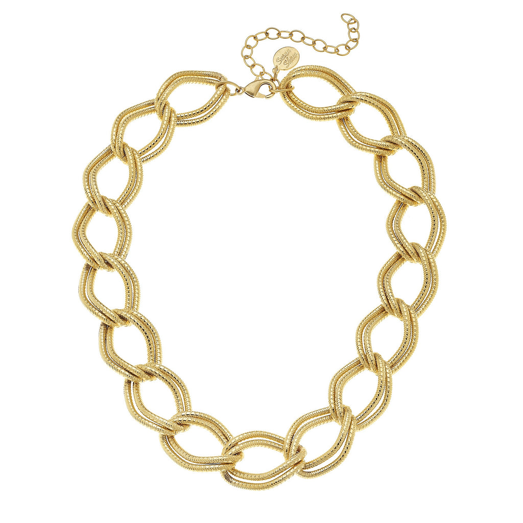 Susan Shaw Jewelry Double Chain Necklace in Gold