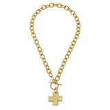 Susan Shaw Cross Chain Toggle Necklace, Gold Plated Pendant