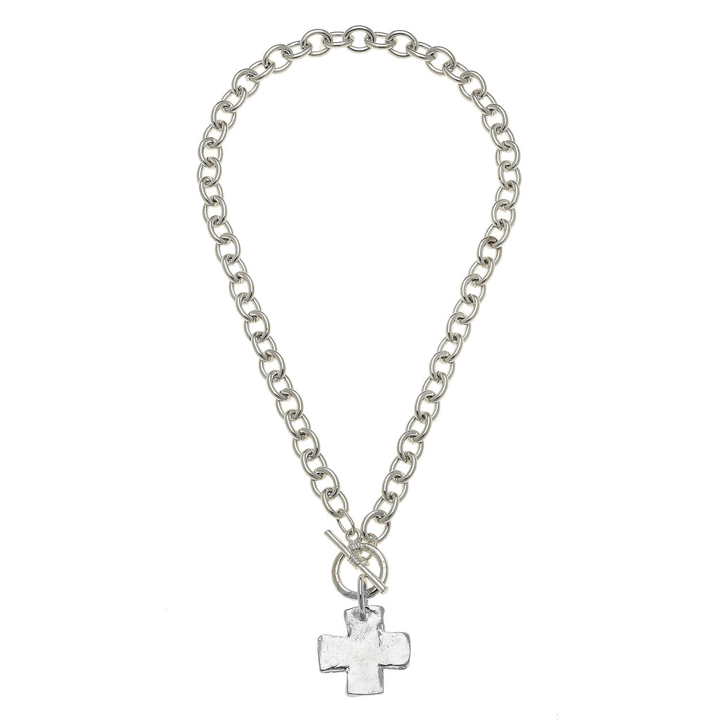 Susan Shaw Silver Cross Toggle Necklace, 18""