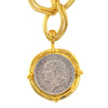 Susan Shaw Gold Plated French Coin Pendant Necklace with Double Textured Chain, 18