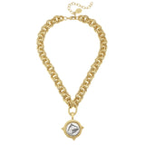 Susan Shaw Gold Plated Horse Pendant Necklace with Double Textured Chain, 18