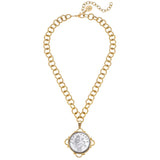 Susan Shaw Gold Plated Large Coin Pendant Necklace