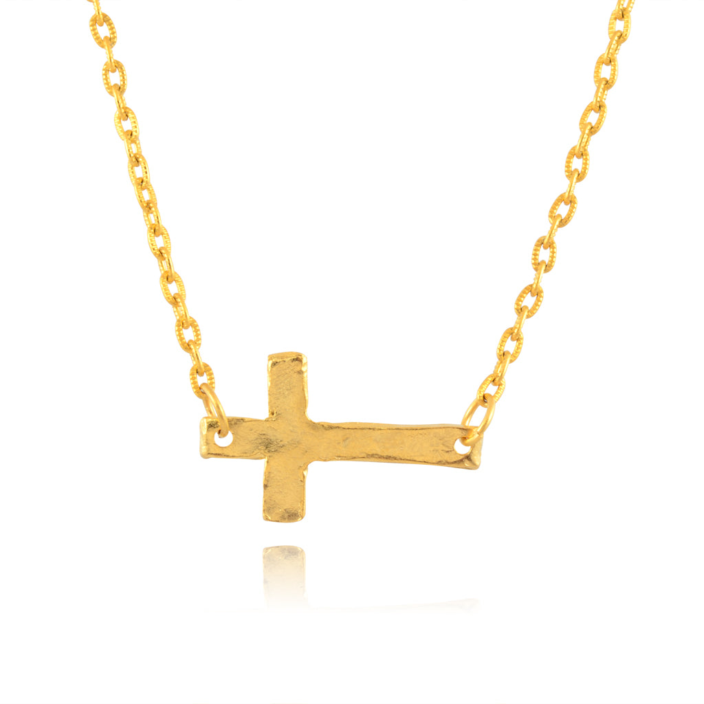 Susan Shaw Sideways Cross Pendant Necklace, Gold Plated Chain Necklace, 14+3""