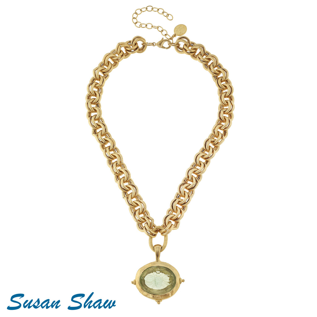 Susan Shaw Clear Venetian Glass Bee Intaglio on Gold Chain Necklace