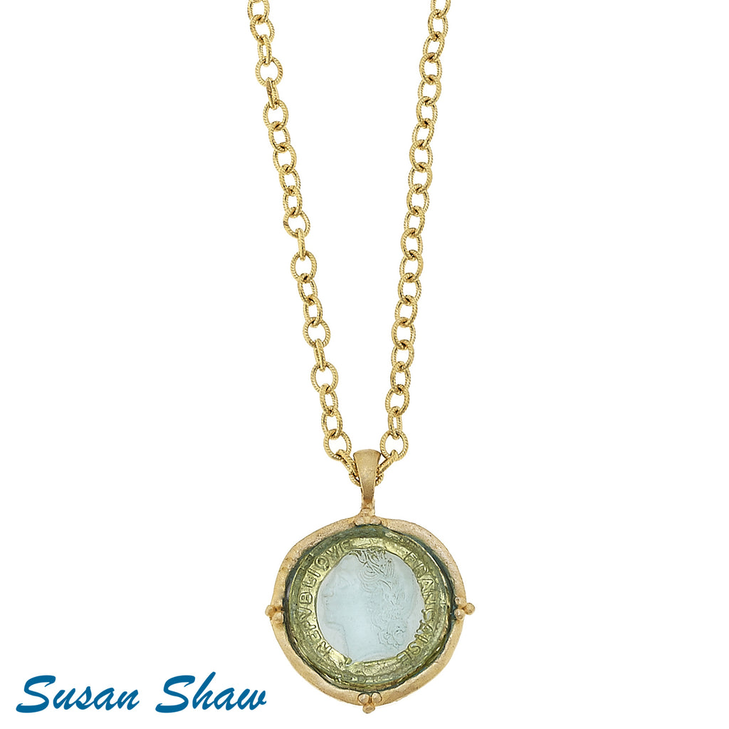 "Susan Shaw 30"" Clear Venetian Glass Coin on Chain Necklace"