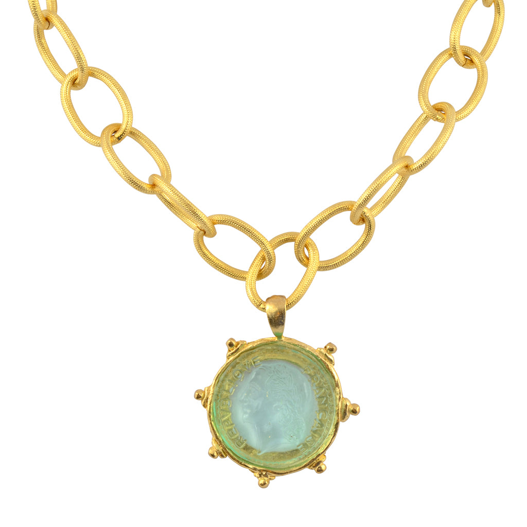 Susan Shaw Clear Venetian Glass Coin Intaglio on Gold Plated Chain Necklace, 15+3""