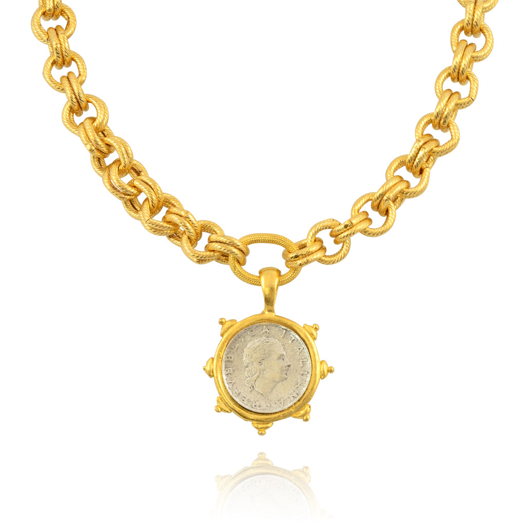 24k gold plated coin necklace