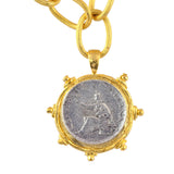 Susan Shaw Gold Plated Italian Coin Pendant Necklace with Textured Chain, 16