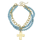Susan Shaw Jewelry Turquoise Cross Necklace, 3 Strand Matte Turquoise Bead Cross Pendant in Gold