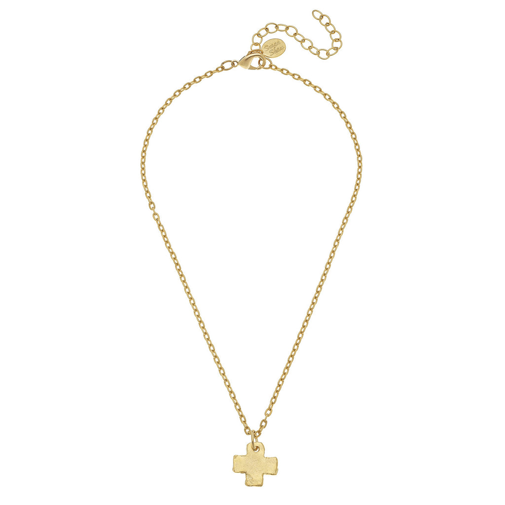 Susan Shaw Handcast Gold Cross Necklace, 16+3""