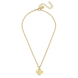 Susan Shaw Handcast Gold Cross Necklace, 16+3