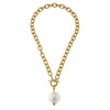 Susan Shaw Jewelry Pearl Necklace, White Cotton Pearl Pendant in Gold