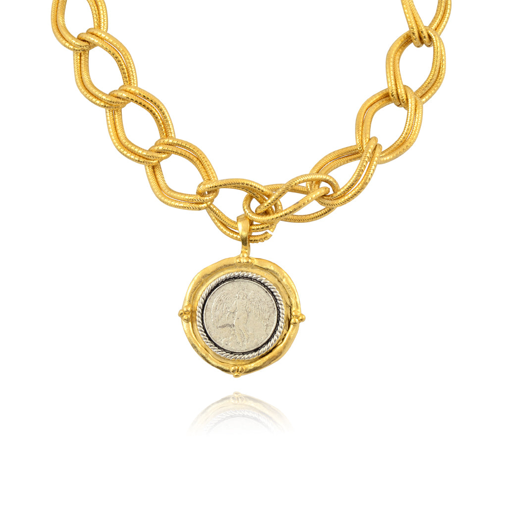 Susan Shaw Angel Coin Pendant Necklace, Gold Plated Large Chain Necklace, 16+3""