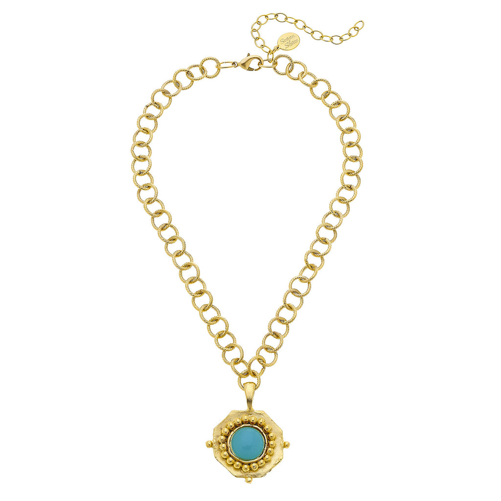 Susan Shaw Gold Plated Round Crystal Pendant Necklace