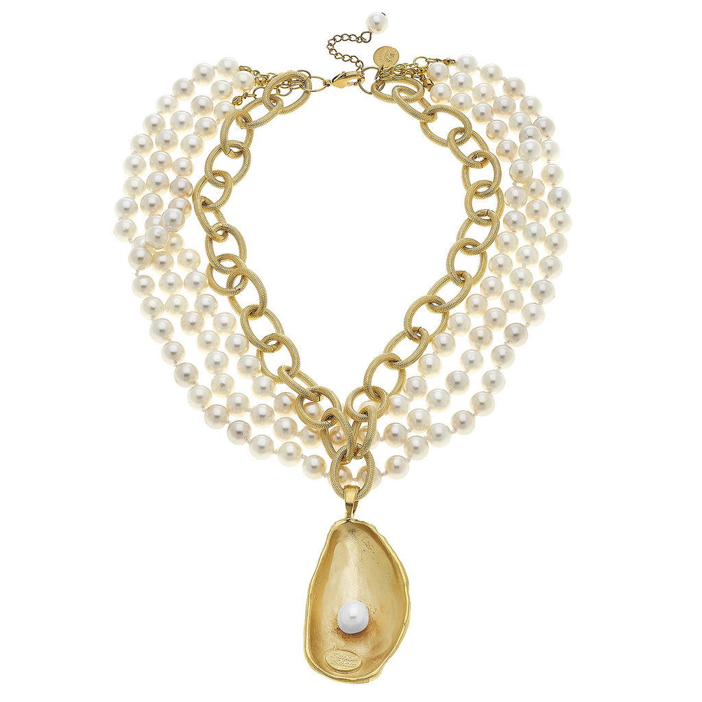 Susan Shaw Jewelry Pearl Oyster Shell Necklace, 3 Strand Pearl Pendant in Gold