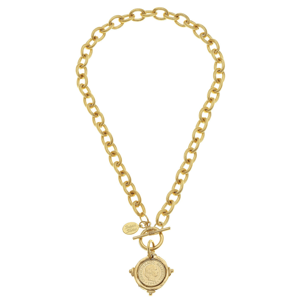 Susan Shaw Jewelry Portrait Coin Intaglio Necklace in Gold