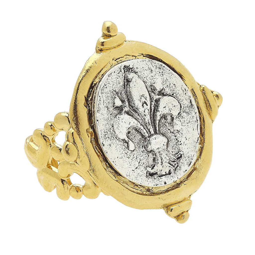 Susan Shaw Jewelry Fleur de Lis Ring in Gold