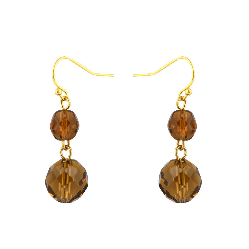 Susan Shaw Jewelry Brown Bead Dangle Earrings in Gold