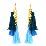Susan Shaw Jewelry 3 Blue Tassel Earrings in Gold