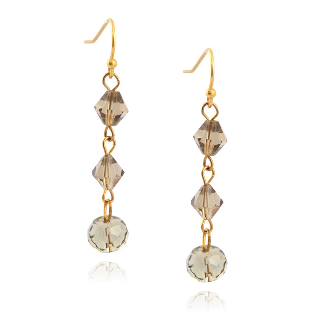 Susan Shaw Gold Plated Simple Bead Dangle Earrings, Shimmer Grey